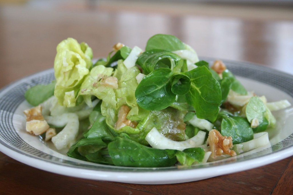Mache, Butter Lettuce, Fennel, & Walnuts With Lemon Walnut Vinaigrette