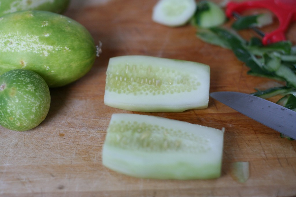 Cucumber Sliced In Two