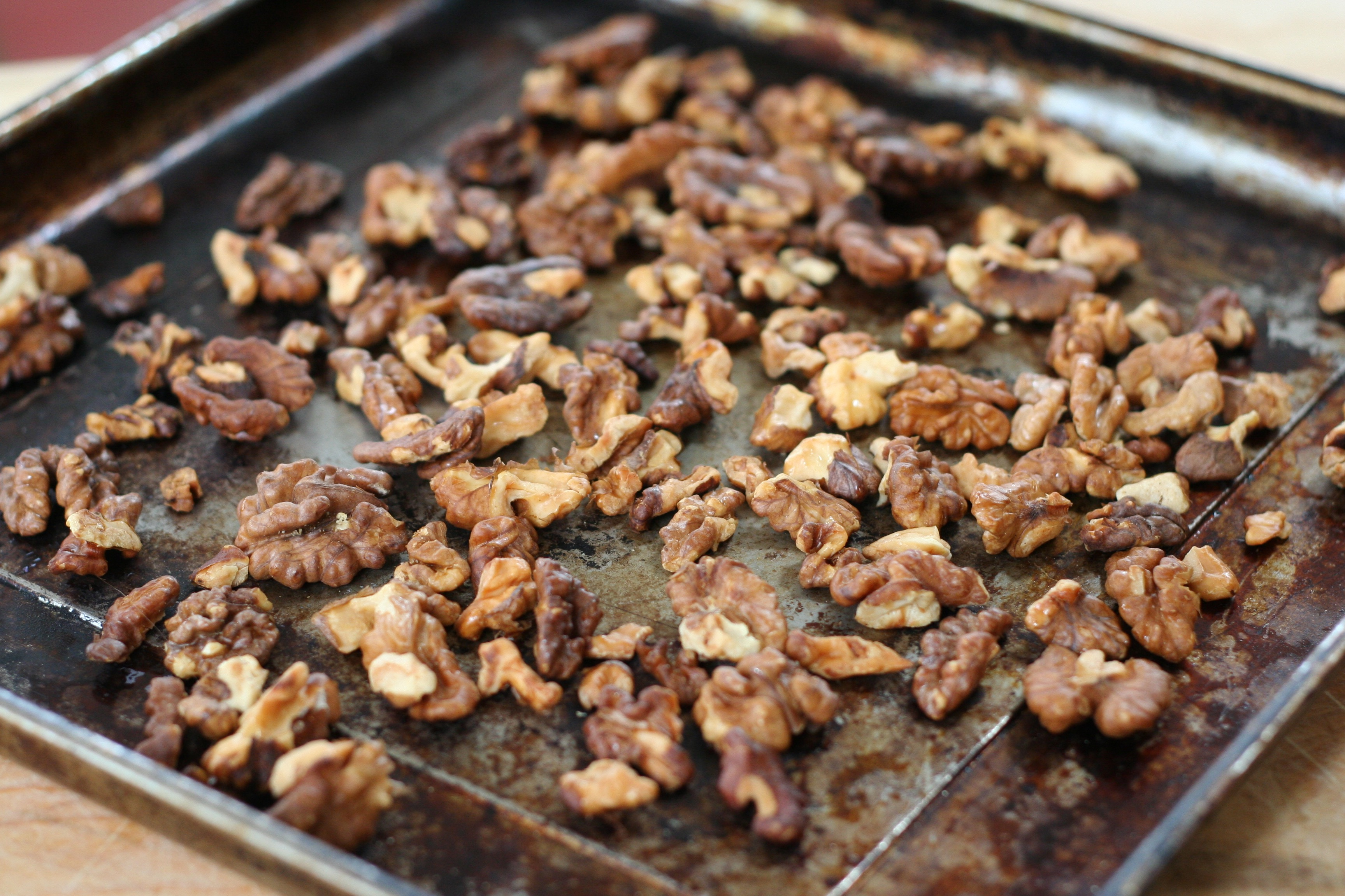 Baking Sheet of Toasted Walnuts